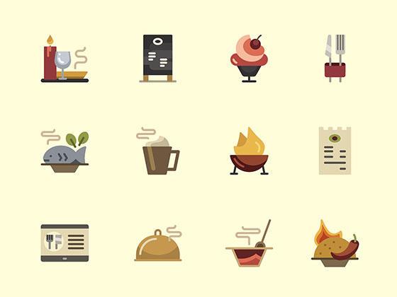 30 枚餐馆扁平图标-uikit.me