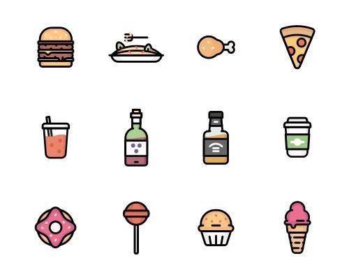 12 枚多彩食物Sketch图标-uikit.me