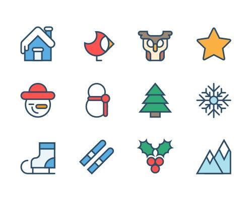 12 枚圣诞节Sketch图标-uikit.me