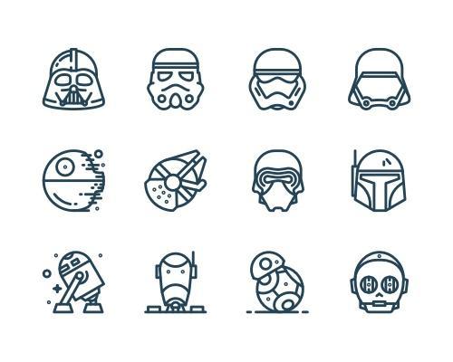 12 枚星球大战Sketch图标-uikit.me