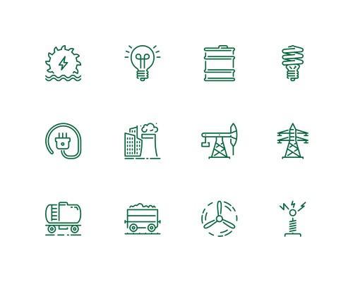 20 枚能量相关线框图标-uikit.me
