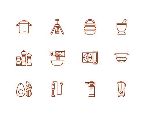 30 枚厨房线框图标-uikit.me
