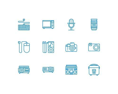 30 枚科技相关线框图标-uikit.me