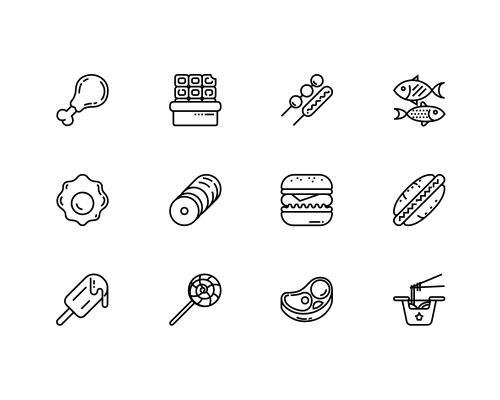 30 枚快餐线框图标-uikit.me