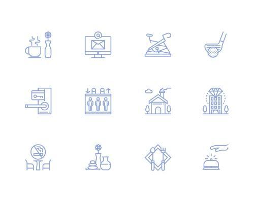 30 枚旅店服务线框图标-uikit.me