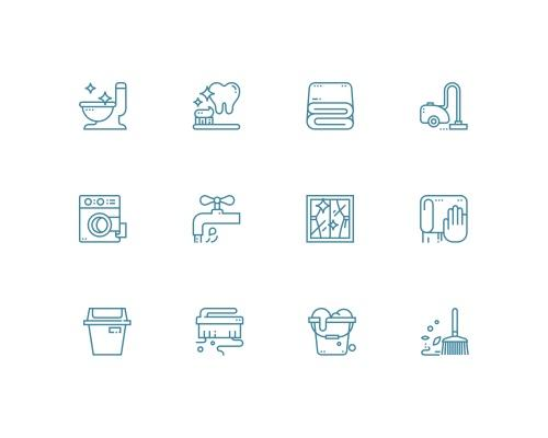 30 枚清洁线框图标-uikit.me