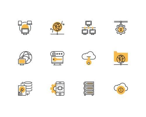 30 枚网络相关线框图标-uikit.me