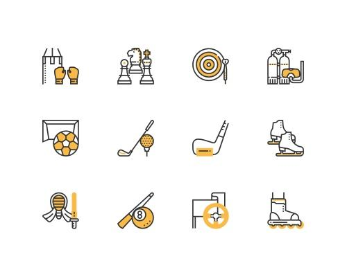 30 枚运动器械线框图标-uikit.me