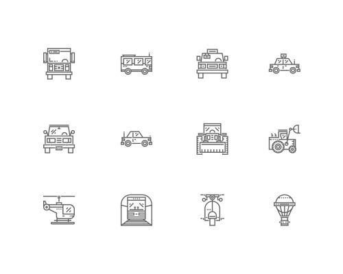 30 枚运输线框图标-uikit.me