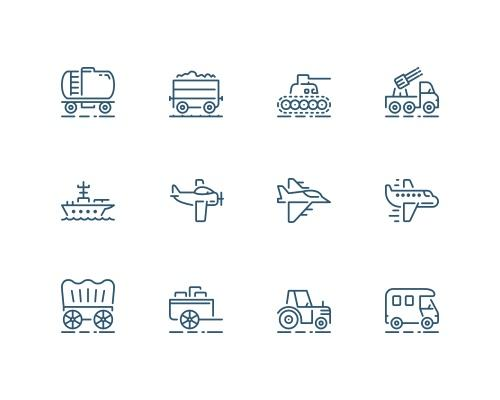 45 枚运输设备线框图标-uikit.me