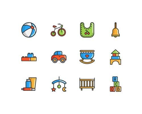 50 枚儿童元素图标-uikit.me