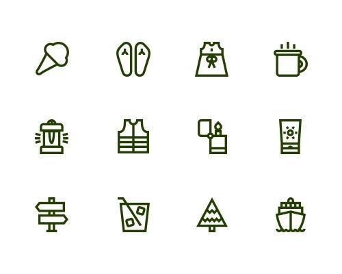 52 枚旅行线框图标-uikit.me