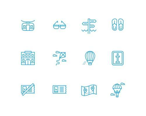 55 枚夏季旅行线框图标-uikit.me