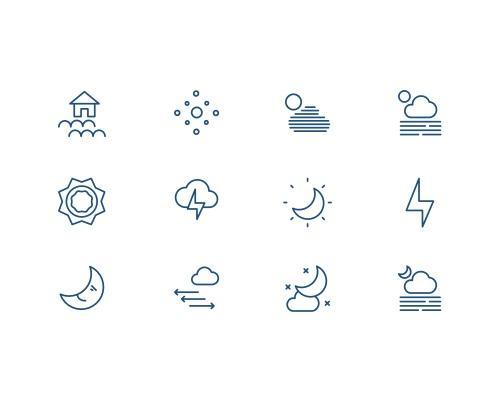 87 枚天气线框图标-uikit.me