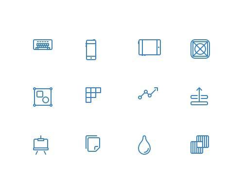 100 枚设计开发线框图标-uikit.me