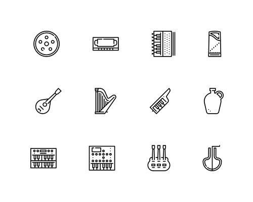 100 枚音乐线框图标-uikit.me