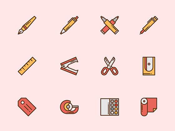 50 枚彩色文具图标-uikit.me