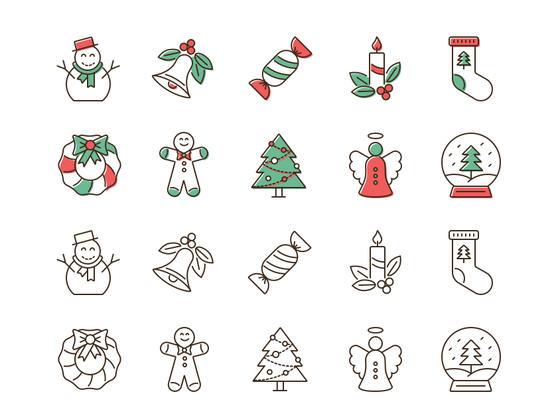 20 枚圣诞线框图标-uikit.me