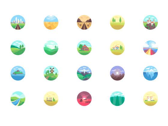 28 枚风景插画图标-uikit.me