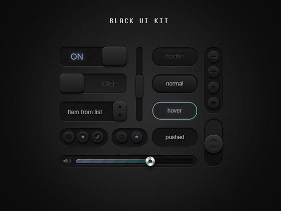 黑色简介UI Kit-uikit.me